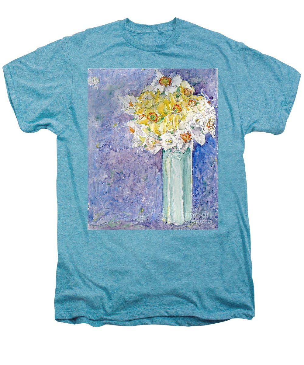 Watercolor Men's Premium T-Shirt featuring the painting Spring Blossoms by Jan Bennicoff