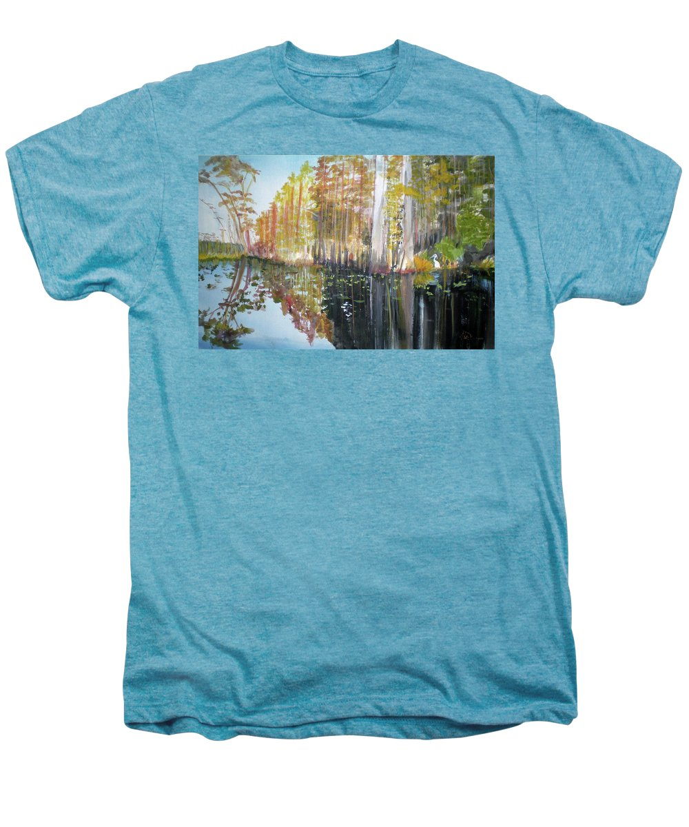 Landscape Of A South Florida Swamp At Dusk Feels Very Wild Men's Premium T-Shirt featuring the painting Swamp Reflection by Hal Newhouser