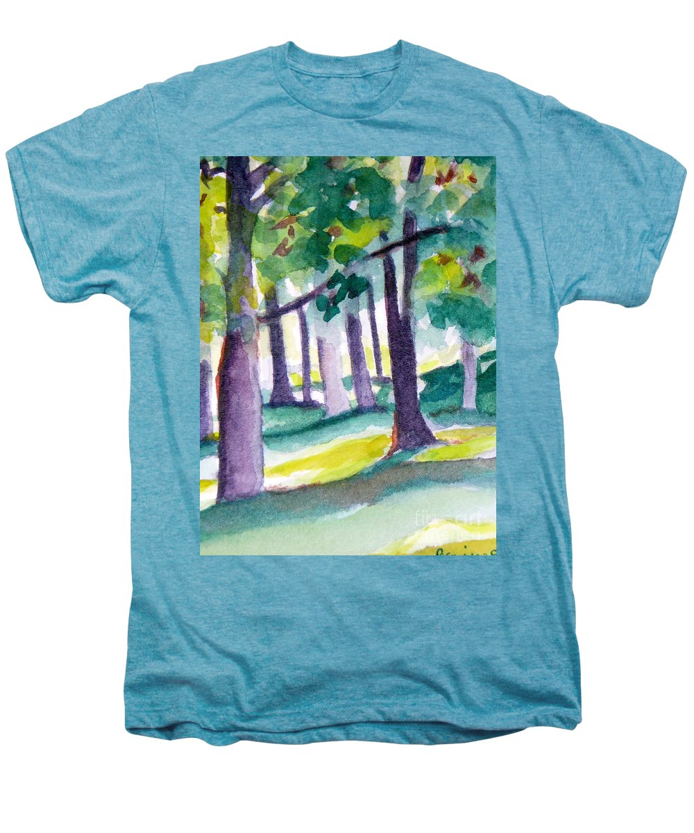 Nature Men's Premium T-Shirt featuring the painting The Perfect Day by Jan Bennicoff