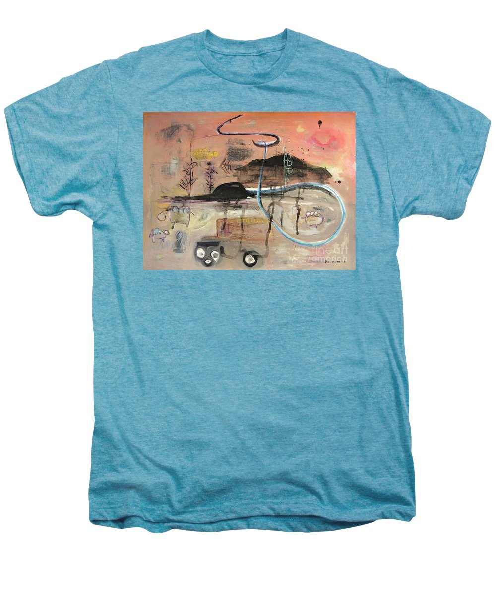 Acrylic Paper Canvas Abstract Contemporary Landscape Dusk Twilight Countryside Men's Premium T-Shirt featuring the painting The Tempo Of A Day by Seon-Jeong Kim