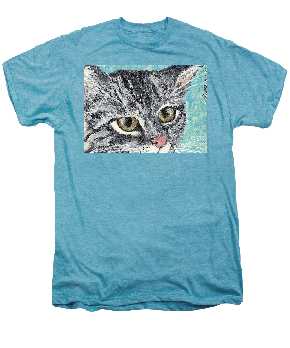 Cats Men's Premium T-Shirt featuring the painting Tiger Cat by Reina Resto