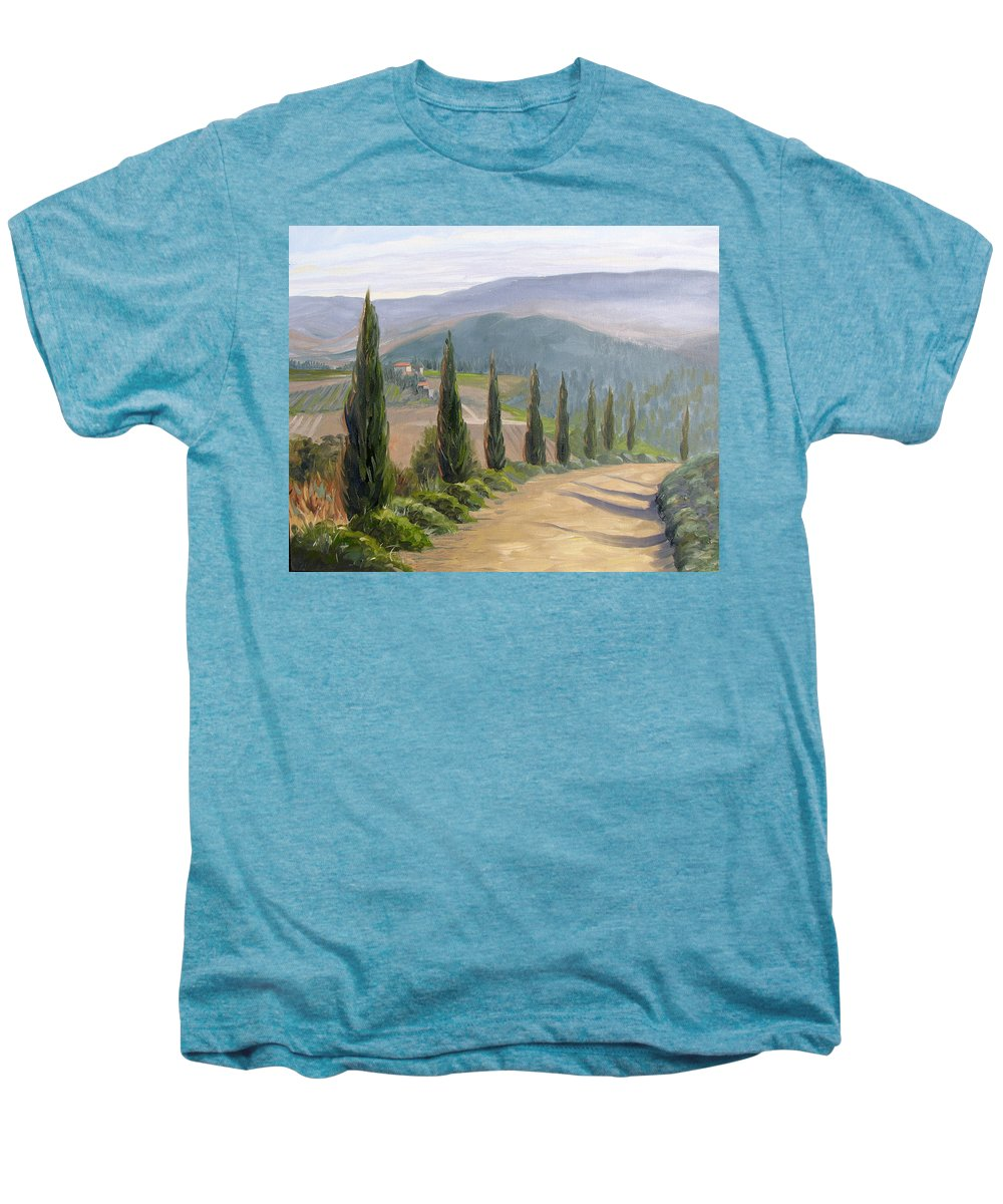 Landscape Men's Premium T-Shirt featuring the painting Tuscany Road by Jay Johnson