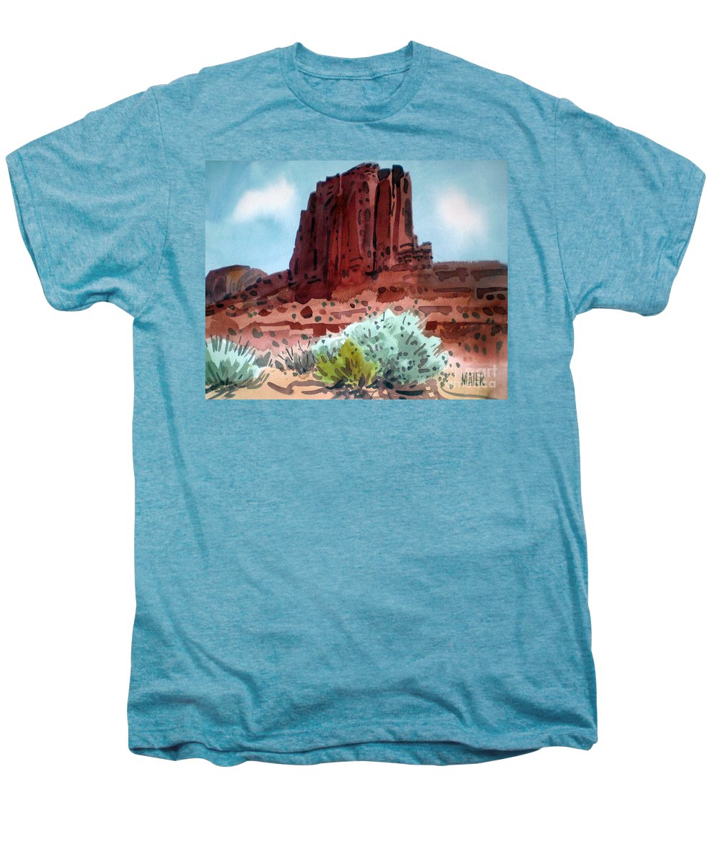 Elephants Butte Men's Premium T-Shirt featuring the painting Two Elephants Butte by Donald Maier