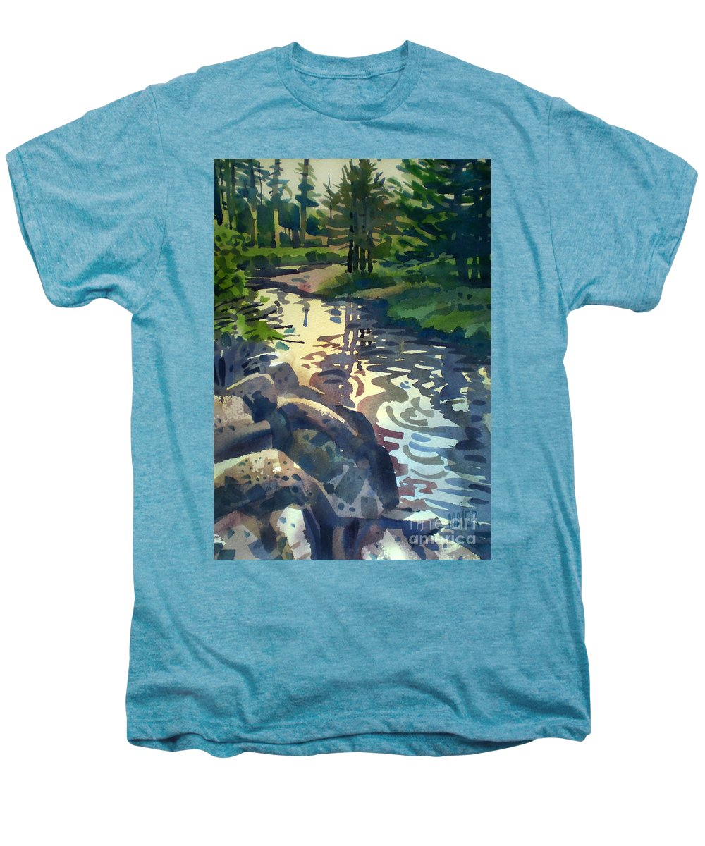 Stream Men's Premium T-Shirt featuring the painting Up With The Fishes by Donald Maier