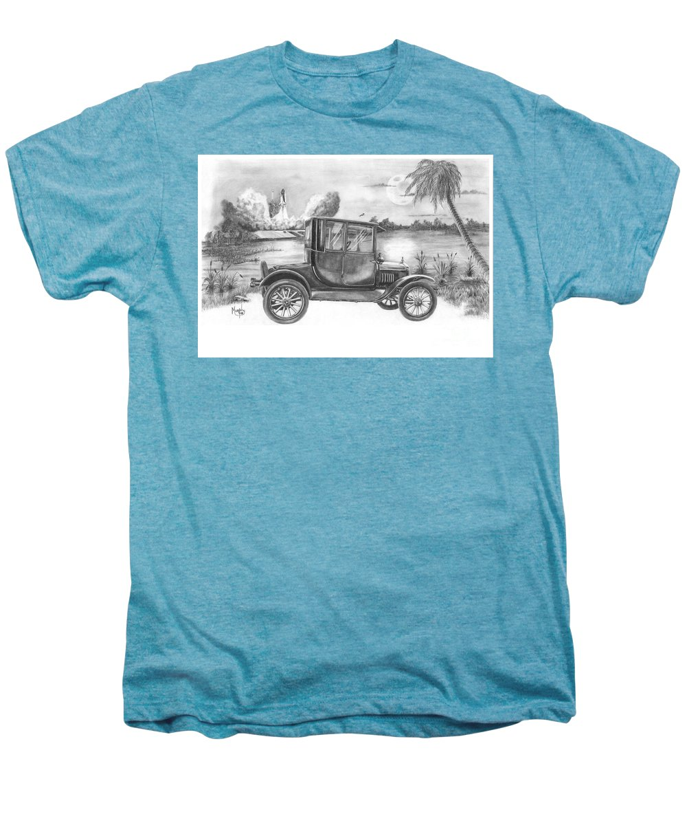 Pencil Men's Premium T-Shirt featuring the drawing Yesterday And Today by Murphy Elliott