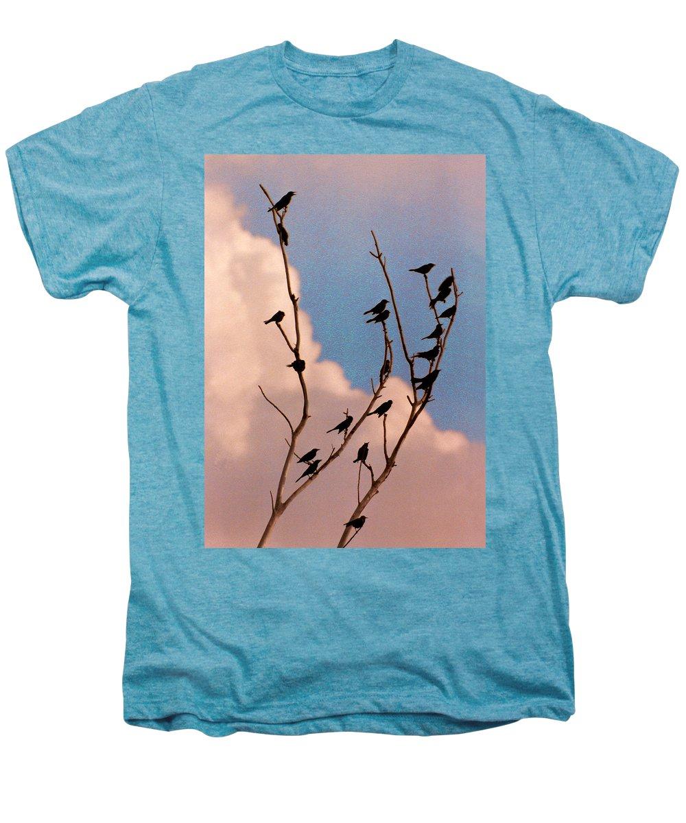 Birds Men's Premium T-Shirt featuring the photograph 19 Blackbirds by Steve Karol