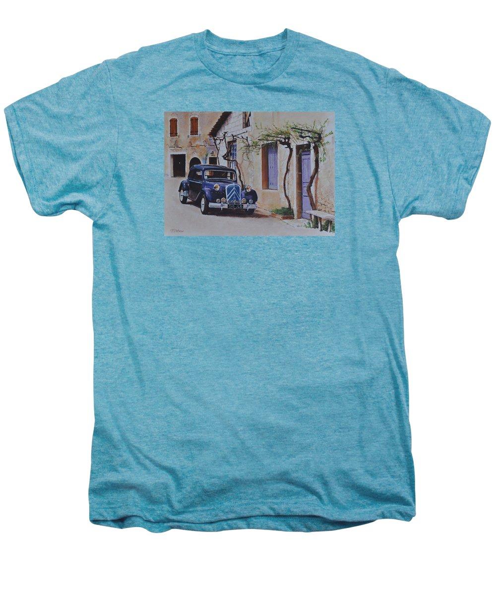 Classic Cars Men's Premium T-Shirt featuring the painting 1951's Citroen by Iliyan Bozhanov