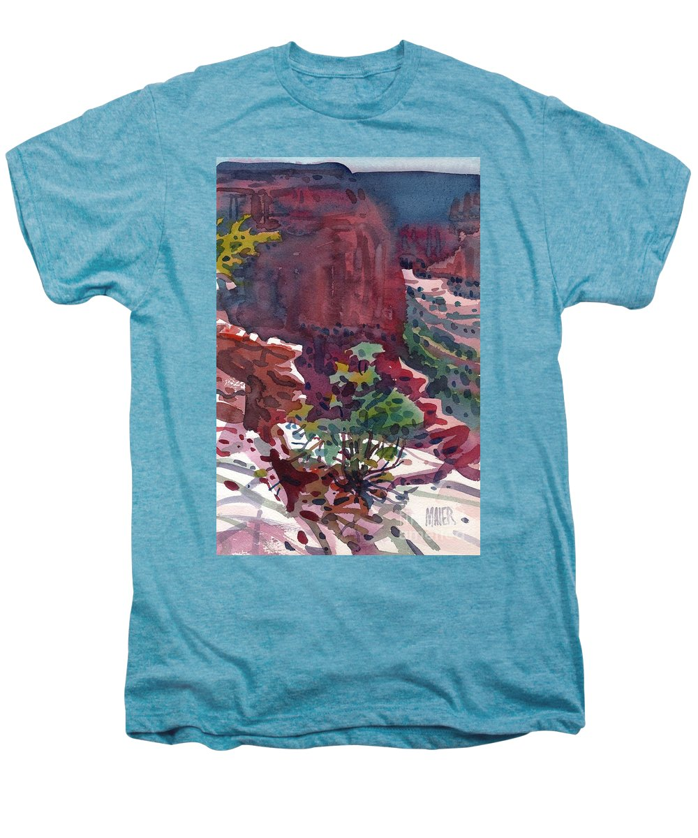 Canyon De Chelly Men's Premium T-Shirt featuring the painting Canyon View by Donald Maier