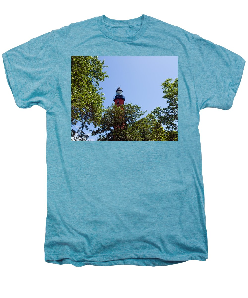 Ponce; De; Leon; Lighthouse; Light; House; Beacon; Navigation; Aid; Lens; Fresnel; Mosquito; Florida Men's Premium T-Shirt featuring the photograph Ponce De Leon Inlet Lighthouse by Allan Hughes