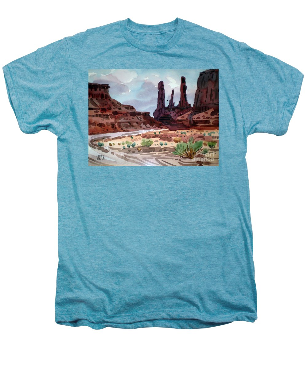 Monument Valley Men's Premium T-Shirt featuring the painting Three Sisters by Donald Maier
