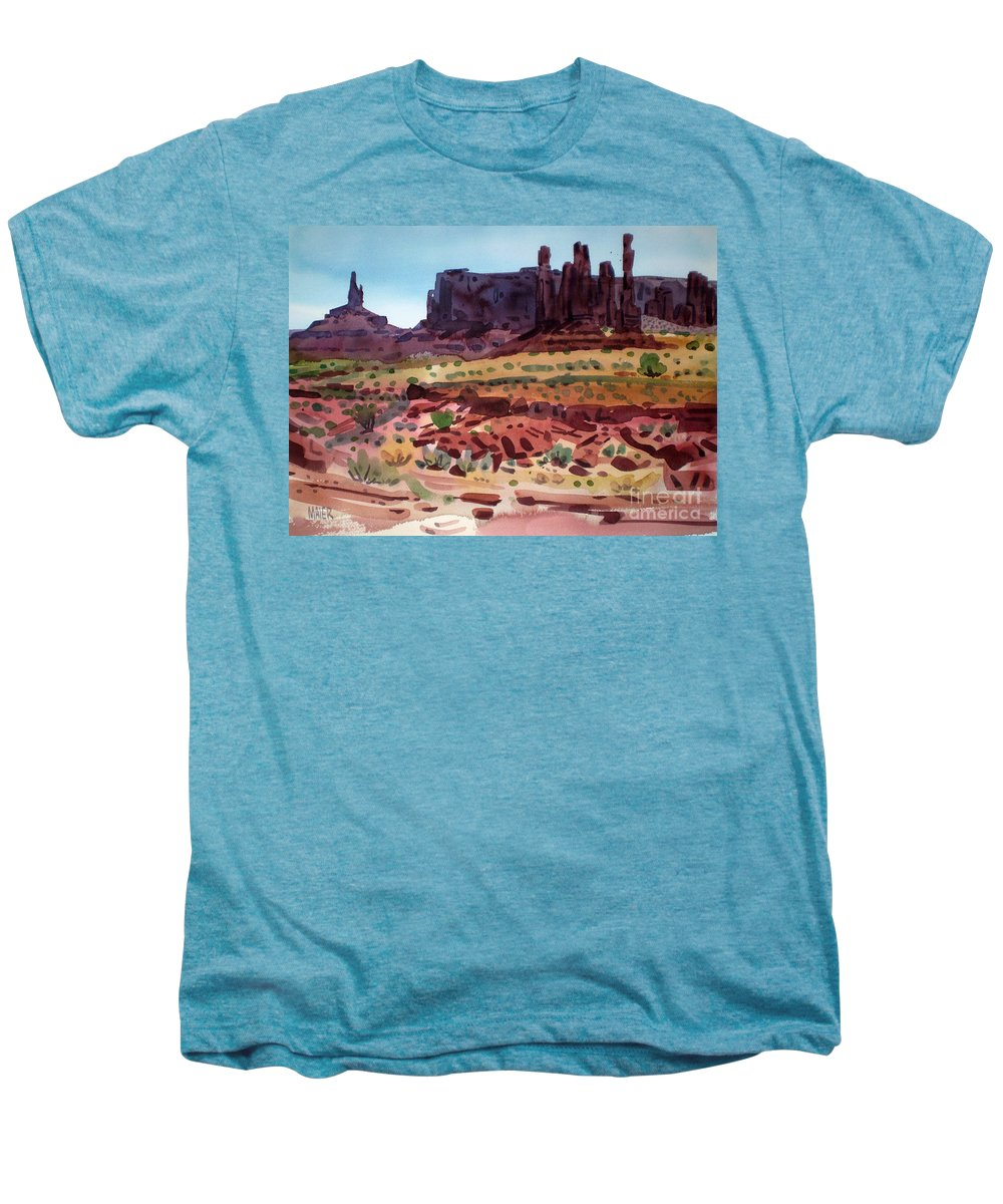 Monument Valley Men's Premium T-Shirt featuring the painting Totem Poles by Donald Maier
