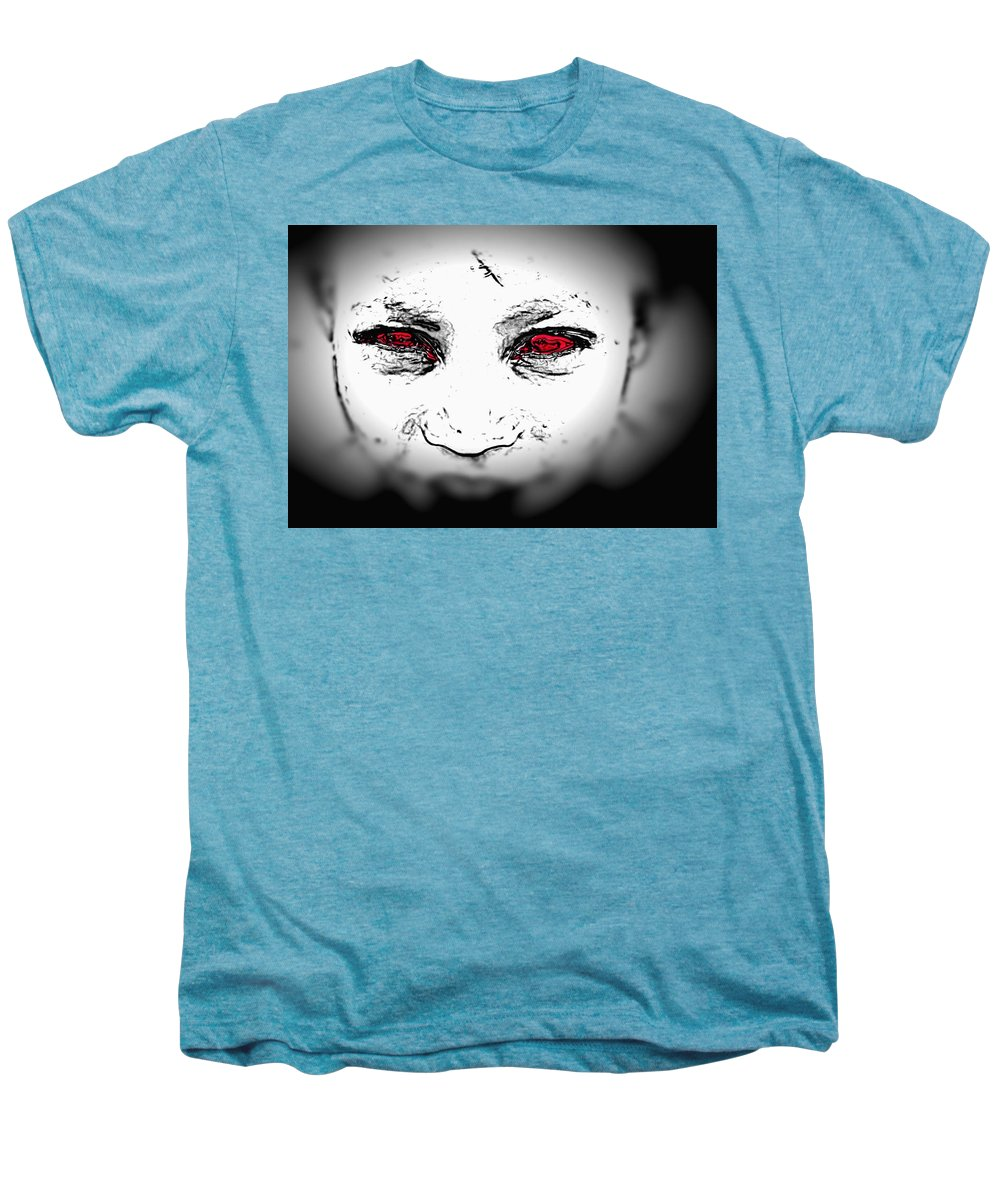Eyes Face Looks Black And White Red Men's Premium T-Shirt featuring the digital art Untitled by Veronica Jackson