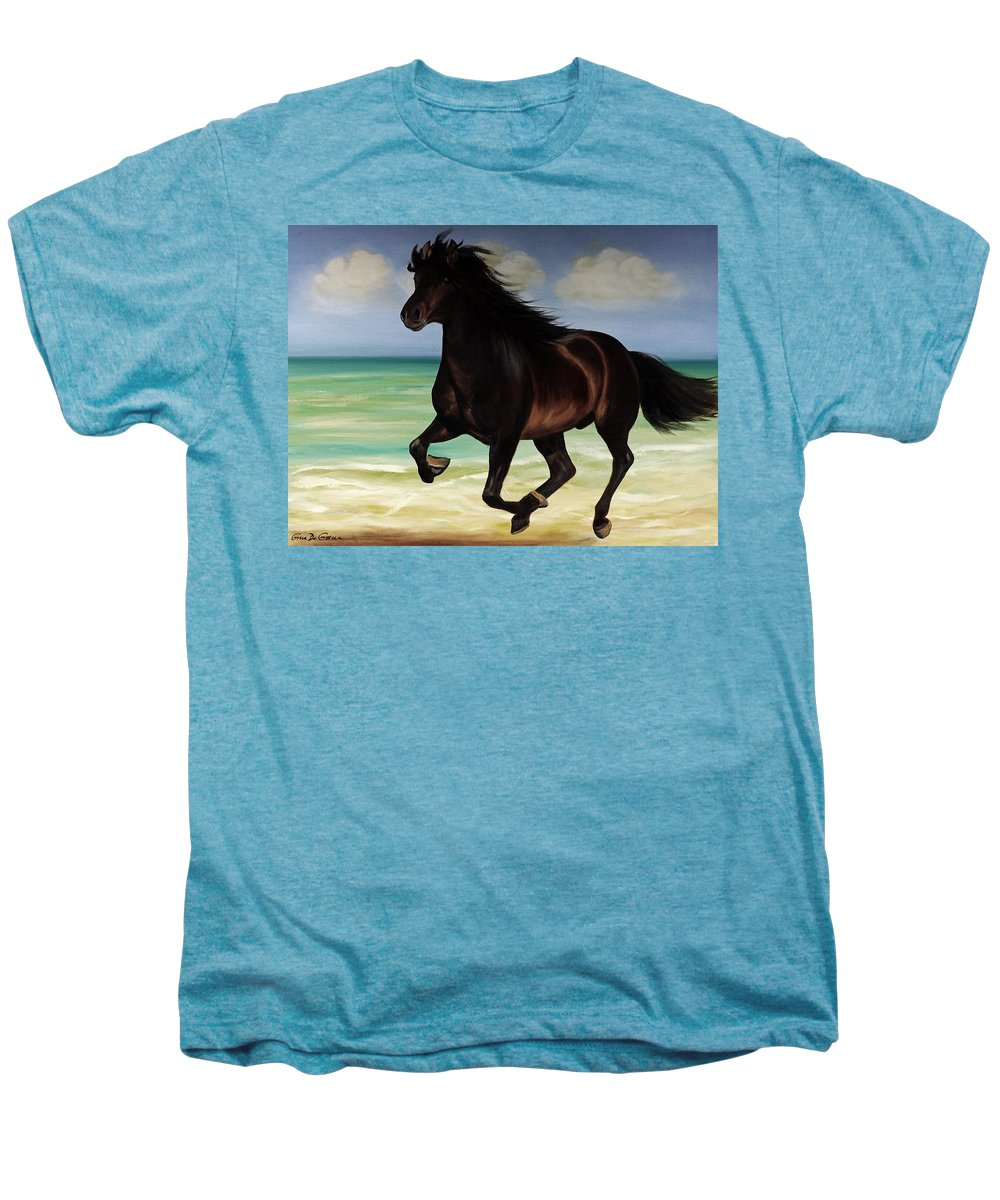 Horse Men's Premium T-Shirt featuring the painting Horses In Paradise Run by Gina De Gorna