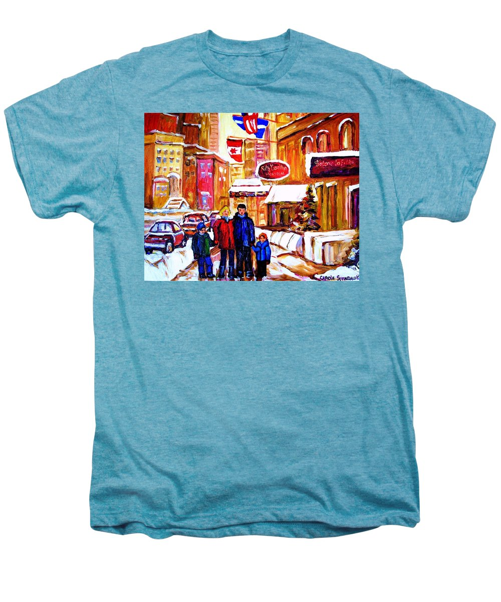 Montreal Men's Premium T-Shirt featuring the painting Montreal Street In Winter by Carole Spandau