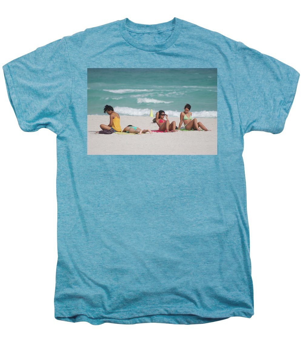 Sea Scape Men's Premium T-Shirt featuring the photograph 3 Up 1 Down At The Beach by Rob Hans