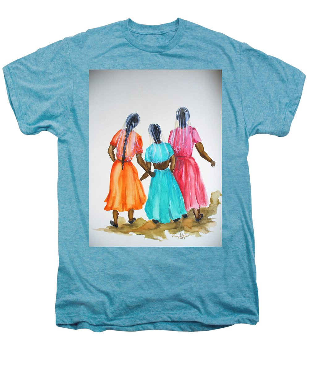 Three Ladies East Indian Men's Premium T-Shirt featuring the painting 3bff by Karin Dawn Kelshall- Best