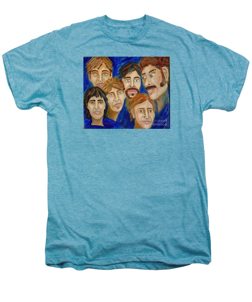 Portrait Men's Premium T-Shirt featuring the painting 70s Band Reunion by Laurie Morgan