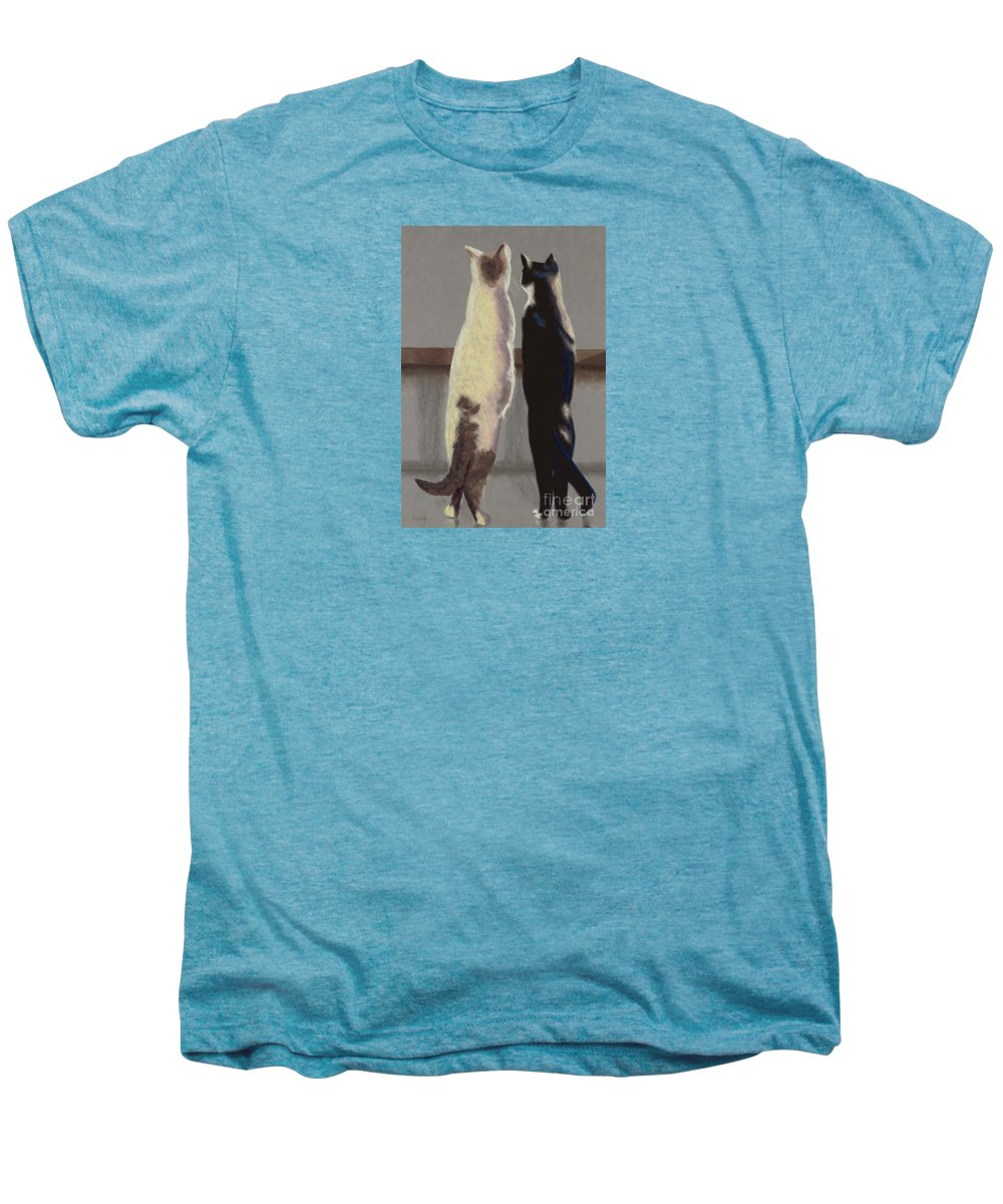 Cat Men's Premium T-Shirt featuring the painting A Bird by Linda Hiller