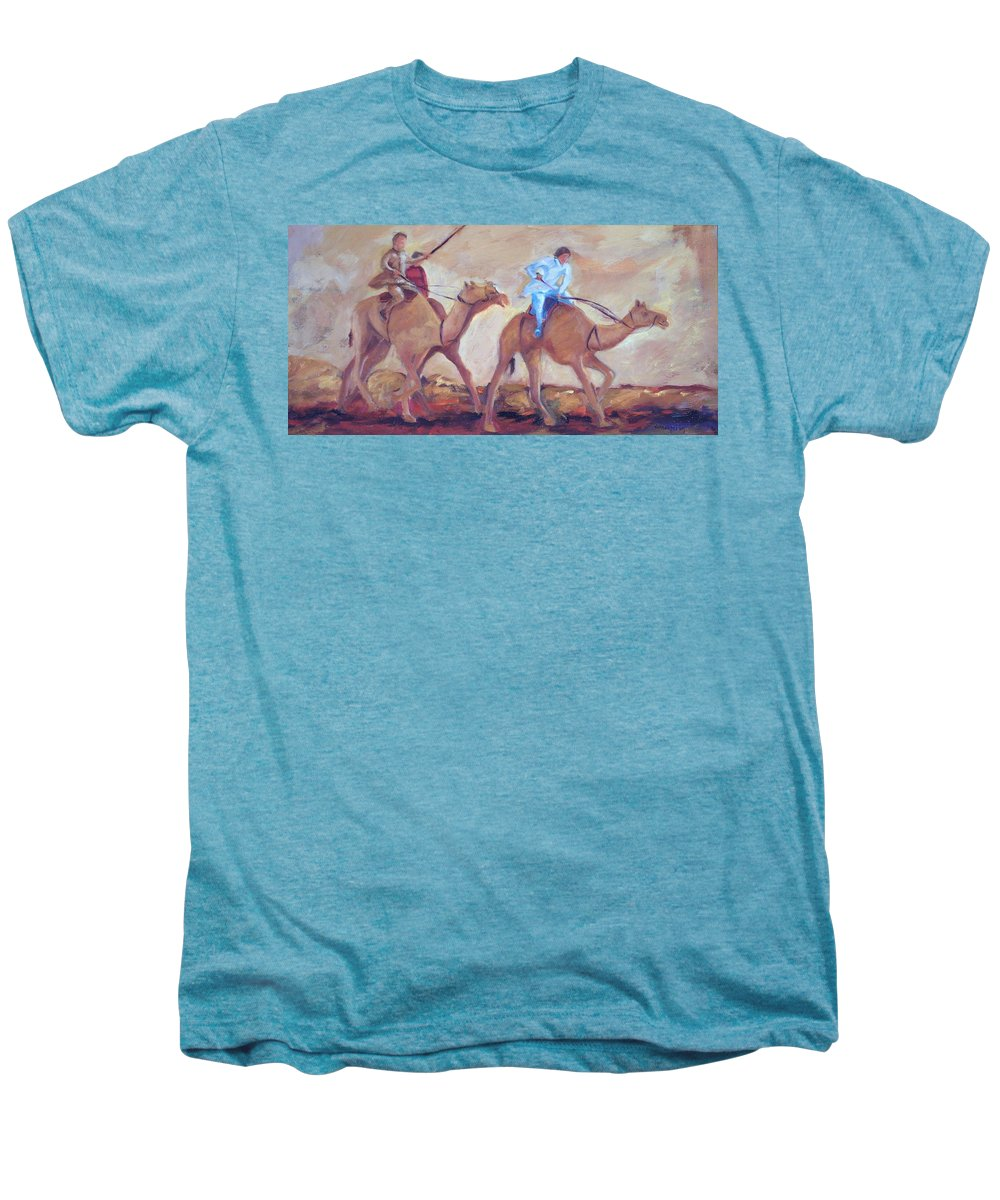 Figurative Men's Premium T-Shirt featuring the painting A Day At The Camel Races by Ginger Concepcion