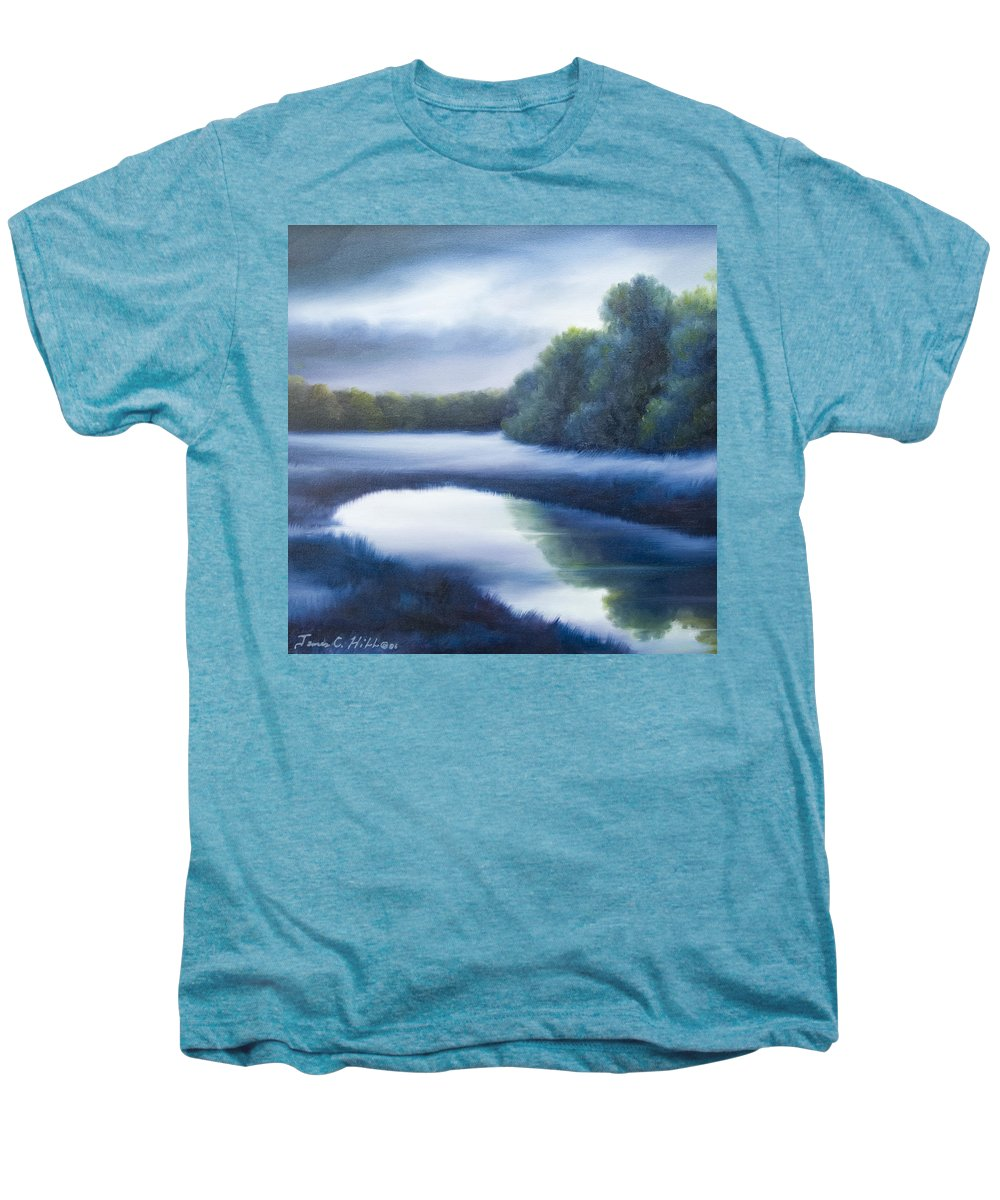 Nature; Lake; Sunset; Sunrise; Serene; Forest; Trees; Water; Ripples; Clearing; Lagoon; James Christopher Hill; Jameshillgallery.com; Foliage; Sky; Realism; Oils; Green; Tree; Blue; Pink; Pond; Lake Men's Premium T-Shirt featuring the painting A Day In The Life 4 by James Christopher Hill