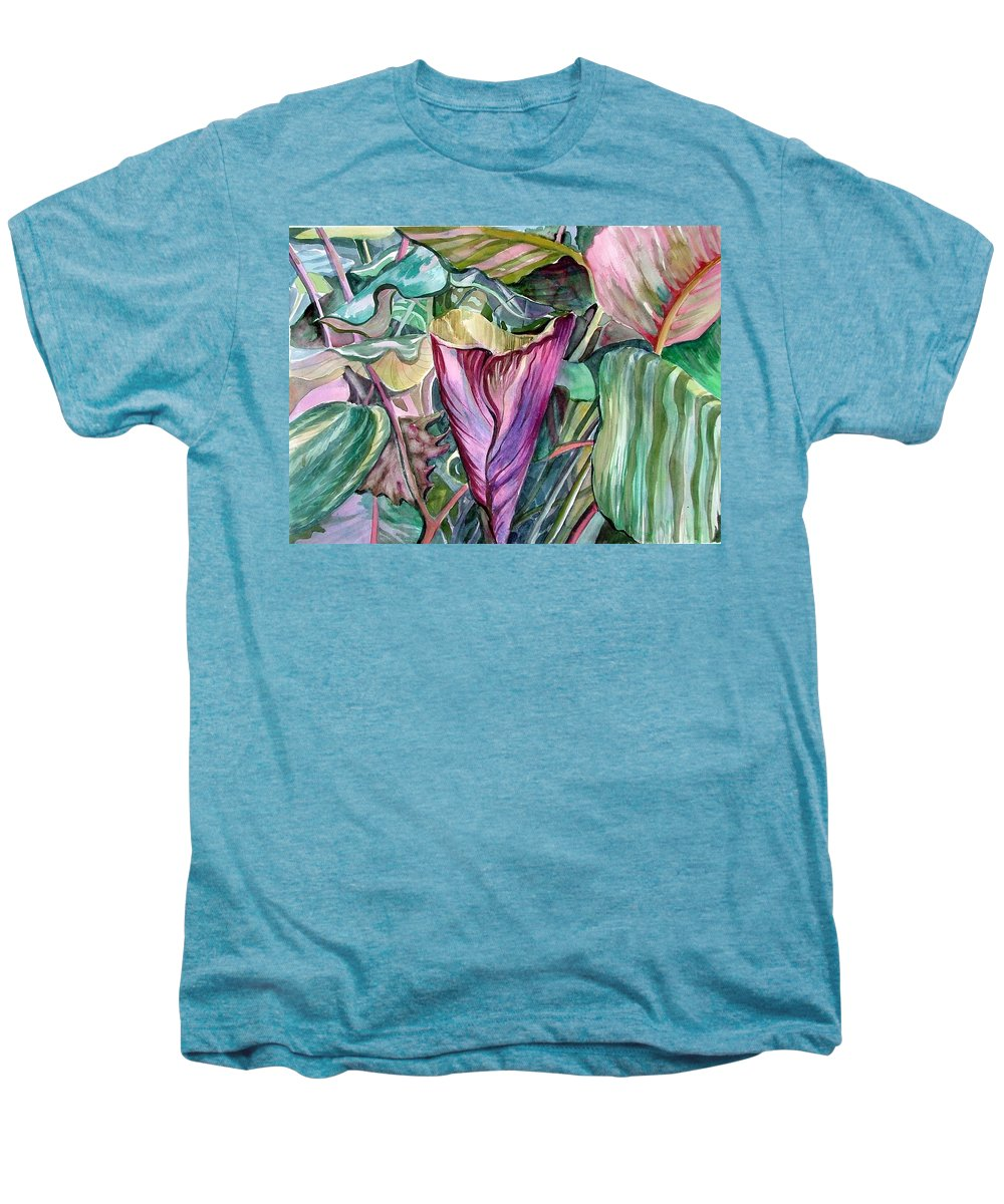 Garden Men's Premium T-Shirt featuring the painting A Light In The Garden by Mindy Newman
