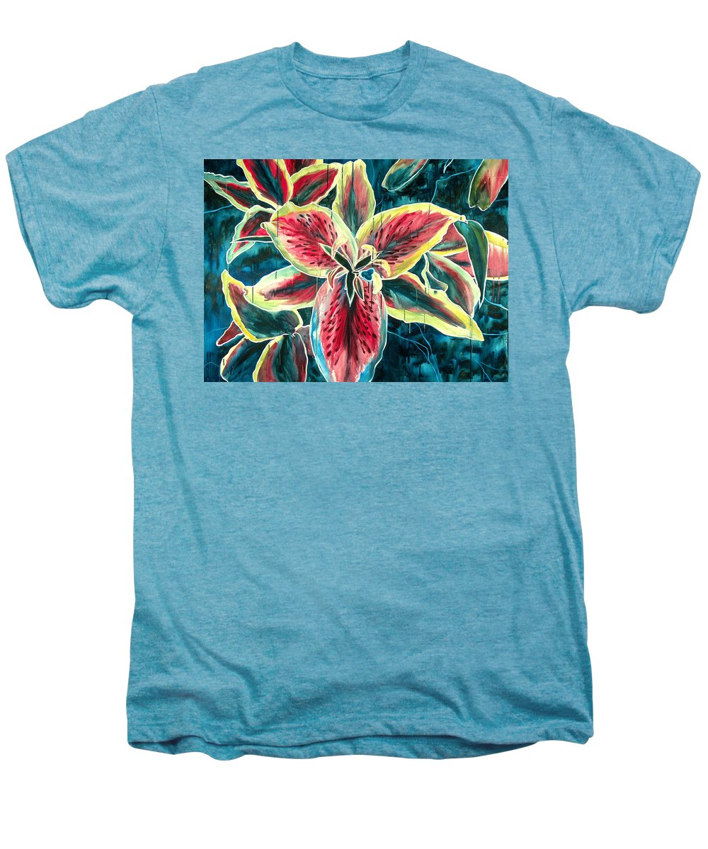 Floral Painting Men's Premium T-Shirt featuring the painting A New Day by Jennifer McDuffie