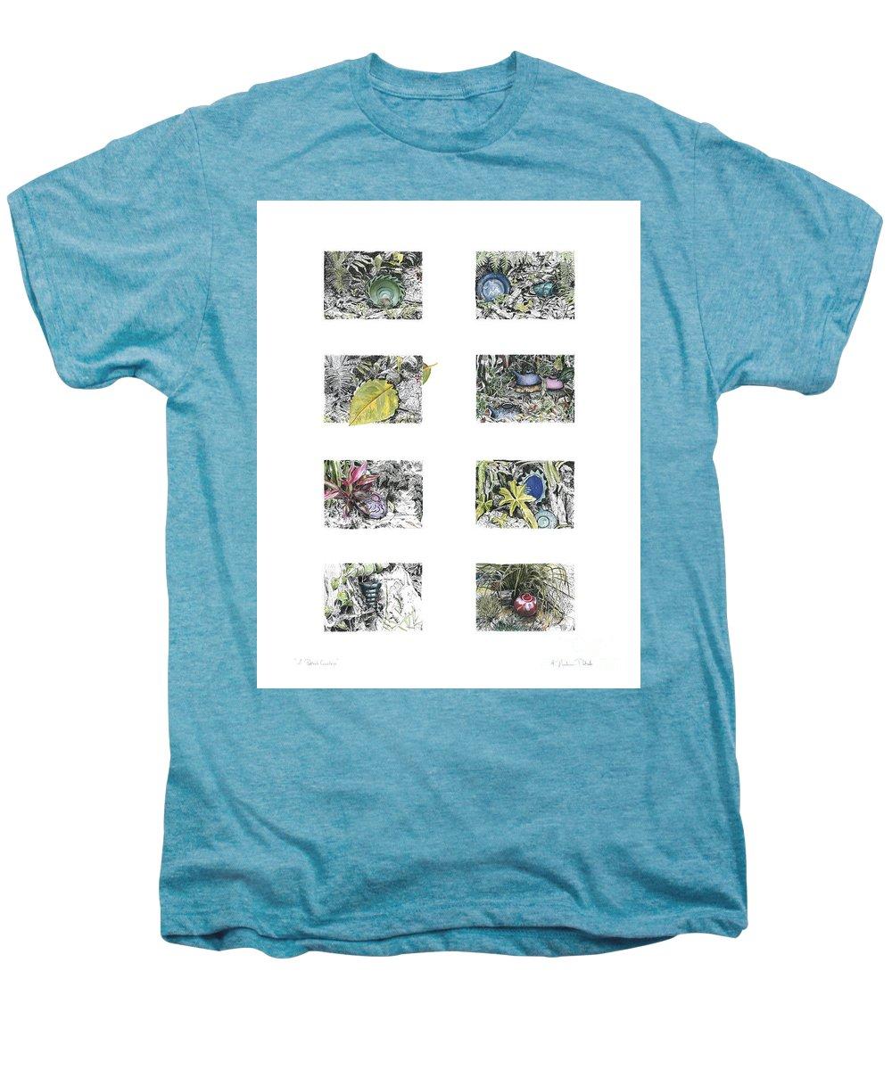 Tropical Men's Premium T-Shirt featuring the drawing A Potters Garden by Kerryn Madsen-Pietsch