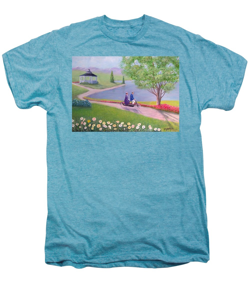 Landscape Men's Premium T-Shirt featuring the painting A Ride In The Park by William H RaVell III