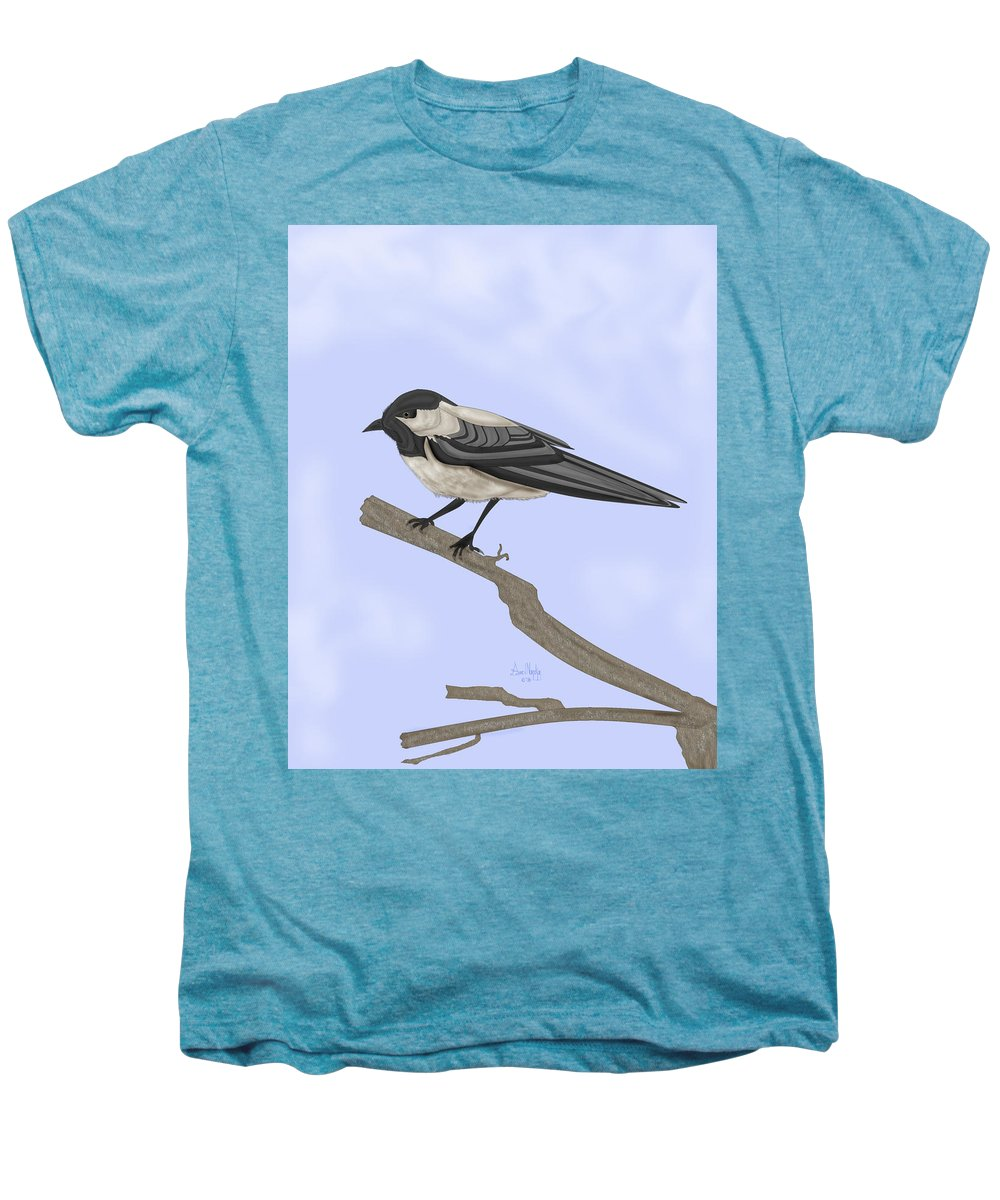 Bird Men's Premium T-Shirt featuring the painting A Small Guest by Anne Norskog