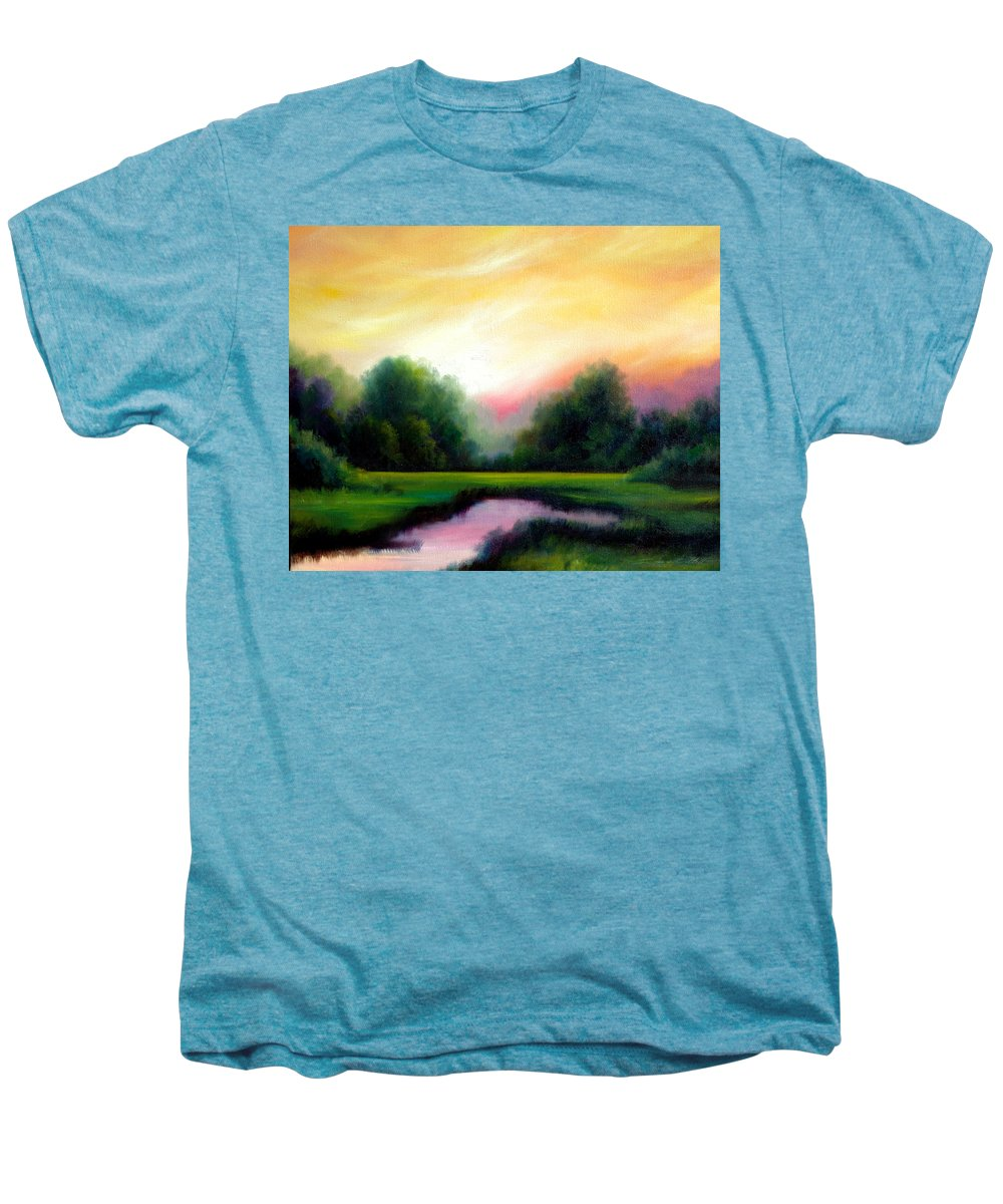Clouds Men's Premium T-Shirt featuring the painting A Spring Evening by James Christopher Hill
