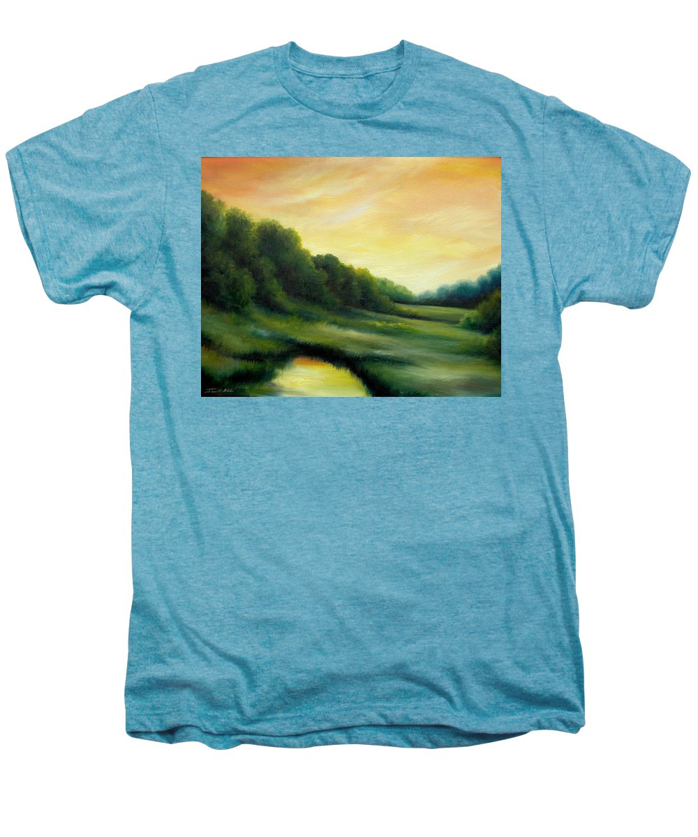 Clouds Men's Premium T-Shirt featuring the painting A Spring Evening Part Two by James Christopher Hill