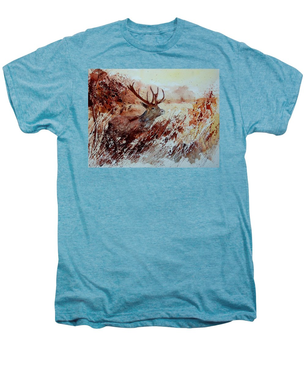 Animal Men's Premium T-Shirt featuring the painting A Stag by Pol Ledent