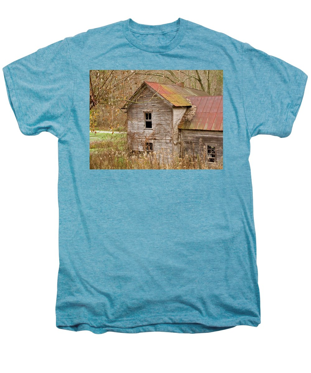 Abandoned Men's Premium T-Shirt featuring the photograph Abandoned House With Colorful Roof by Douglas Barnett