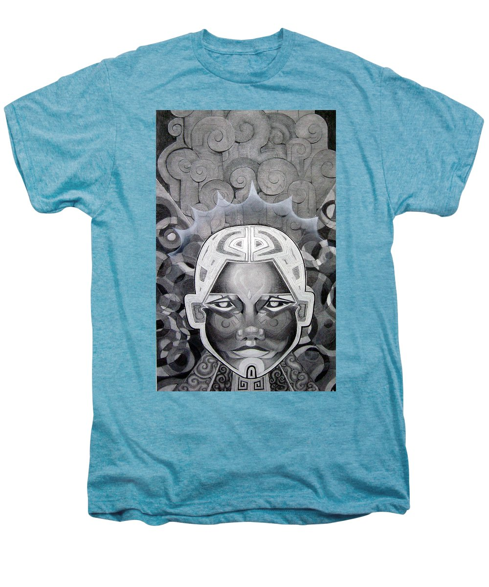 Art Men's Premium T-Shirt featuring the drawing Abcd by Myron Belfast