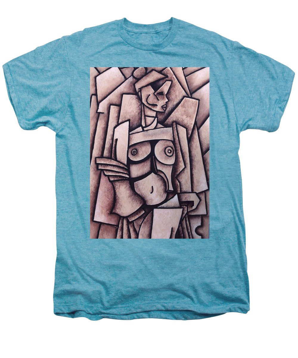Absract Men's Premium T-Shirt featuring the painting Absract Girl by Thomas Valentine