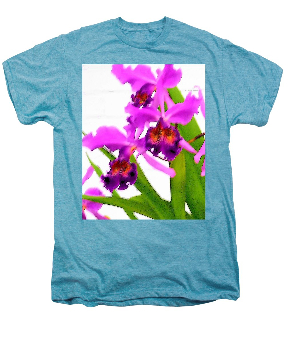 Flowers Men's Premium T-Shirt featuring the digital art Abstract Iris by Anita Burgermeister