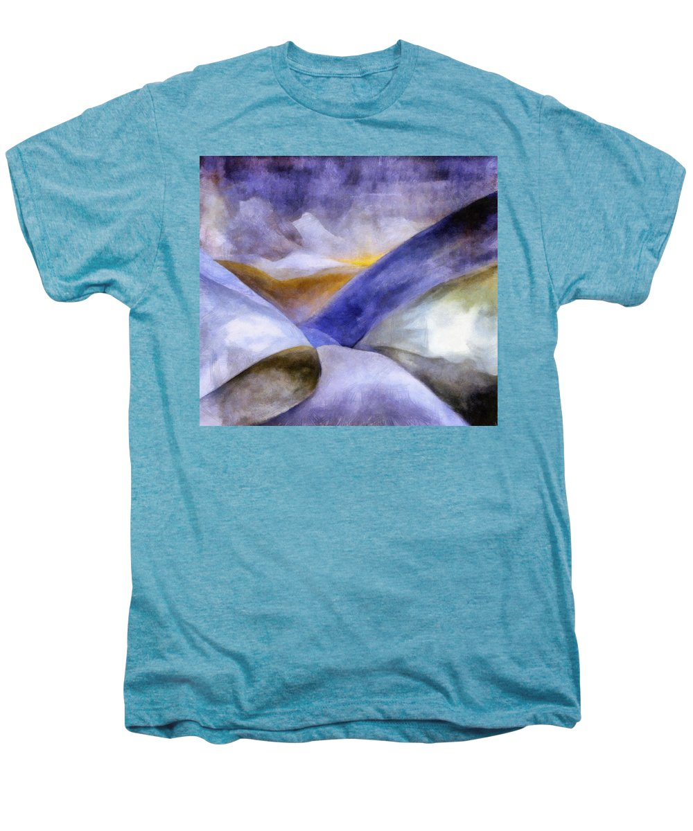 Blue Men's Premium T-Shirt featuring the painting Abstract Mountain Landscape by Michelle Calkins
