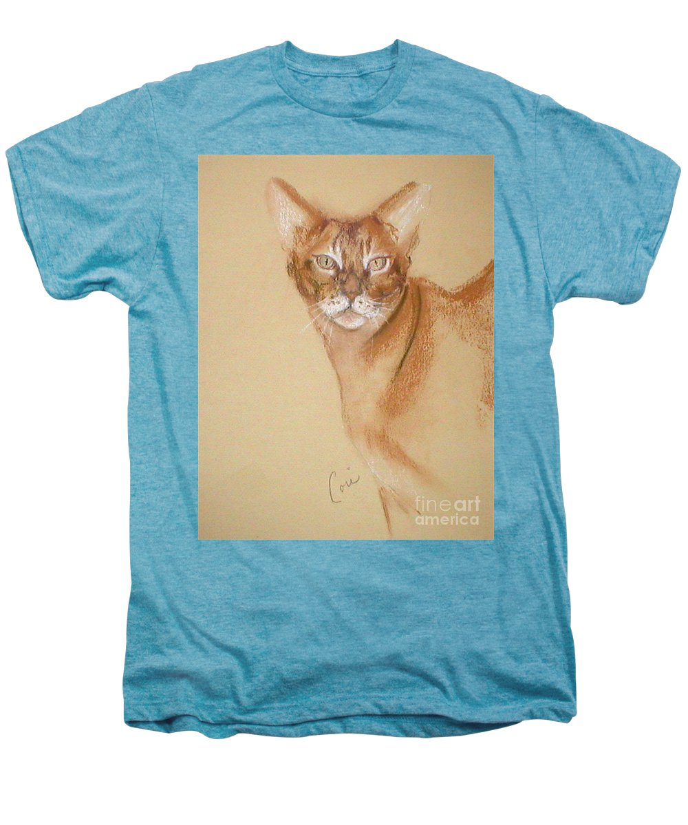 Pastel Men's Premium T-Shirt featuring the drawing Abyssinian by Cori Solomon