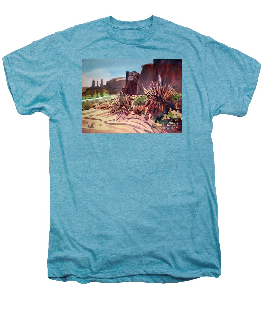 Monument Valley Men's Premium T-Shirt featuring the painting Across Monument Valley by Donald Maier