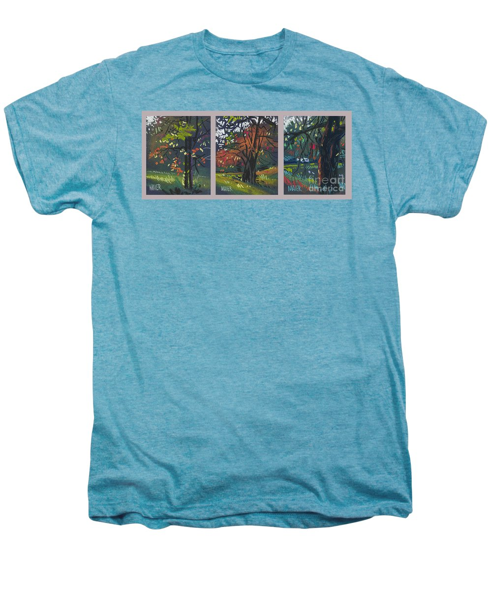 Autumn Foliage Men's Premium T-Shirt featuring the painting Across The Creek Triplet by Donald Maier