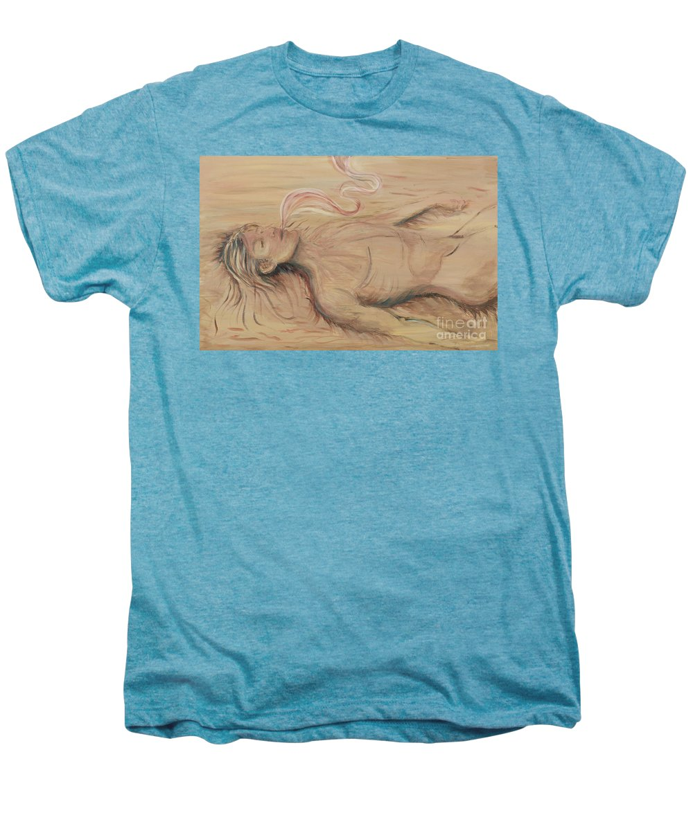 Adam Men's Premium T-Shirt featuring the painting Adam And The Breath Of God by Nadine Rippelmeyer