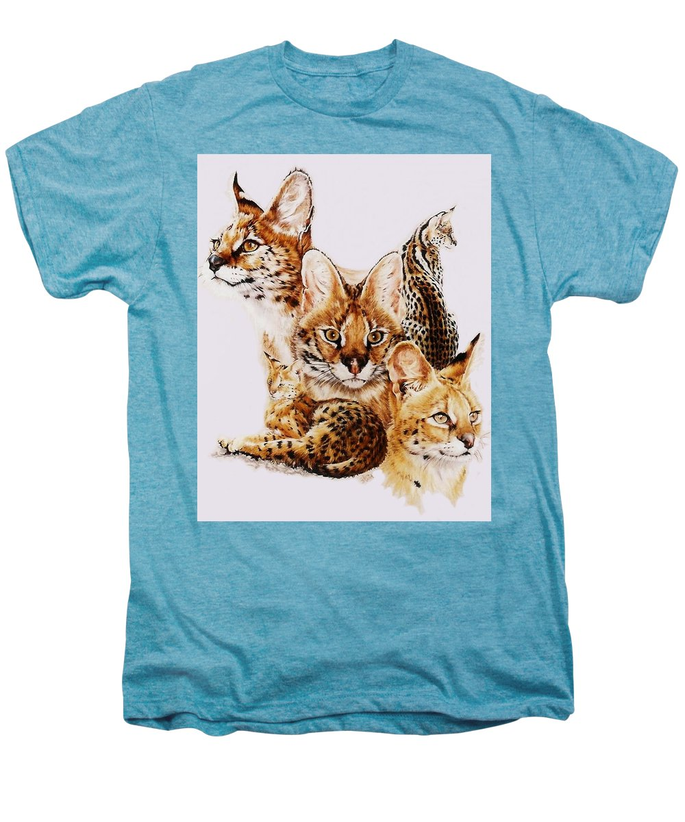 Serval Men's Premium T-Shirt featuring the drawing Adroit by Barbara Keith