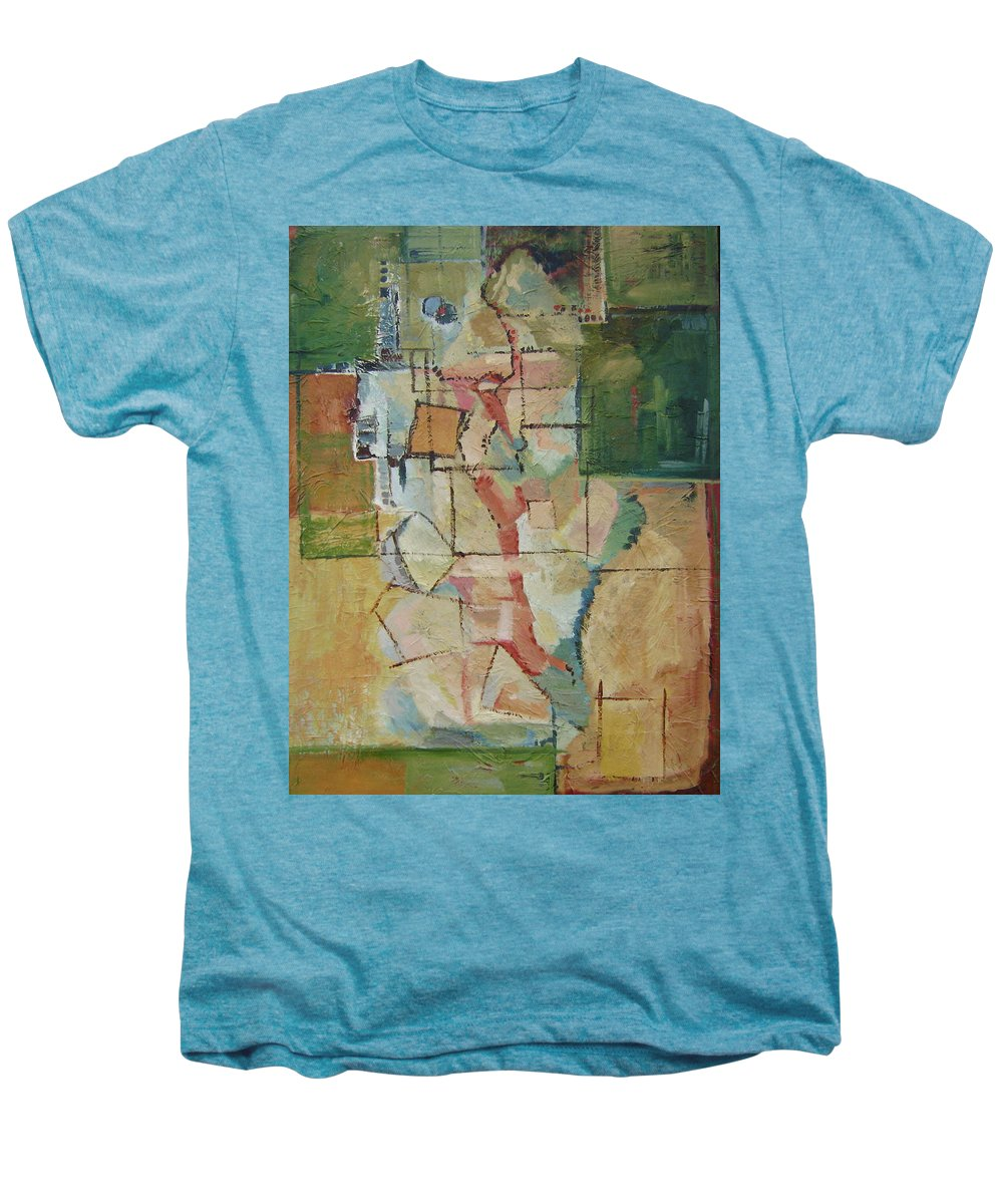 Abstract Art Men's Premium T-Shirt featuring the painting Aerial by Ginger Concepcion
