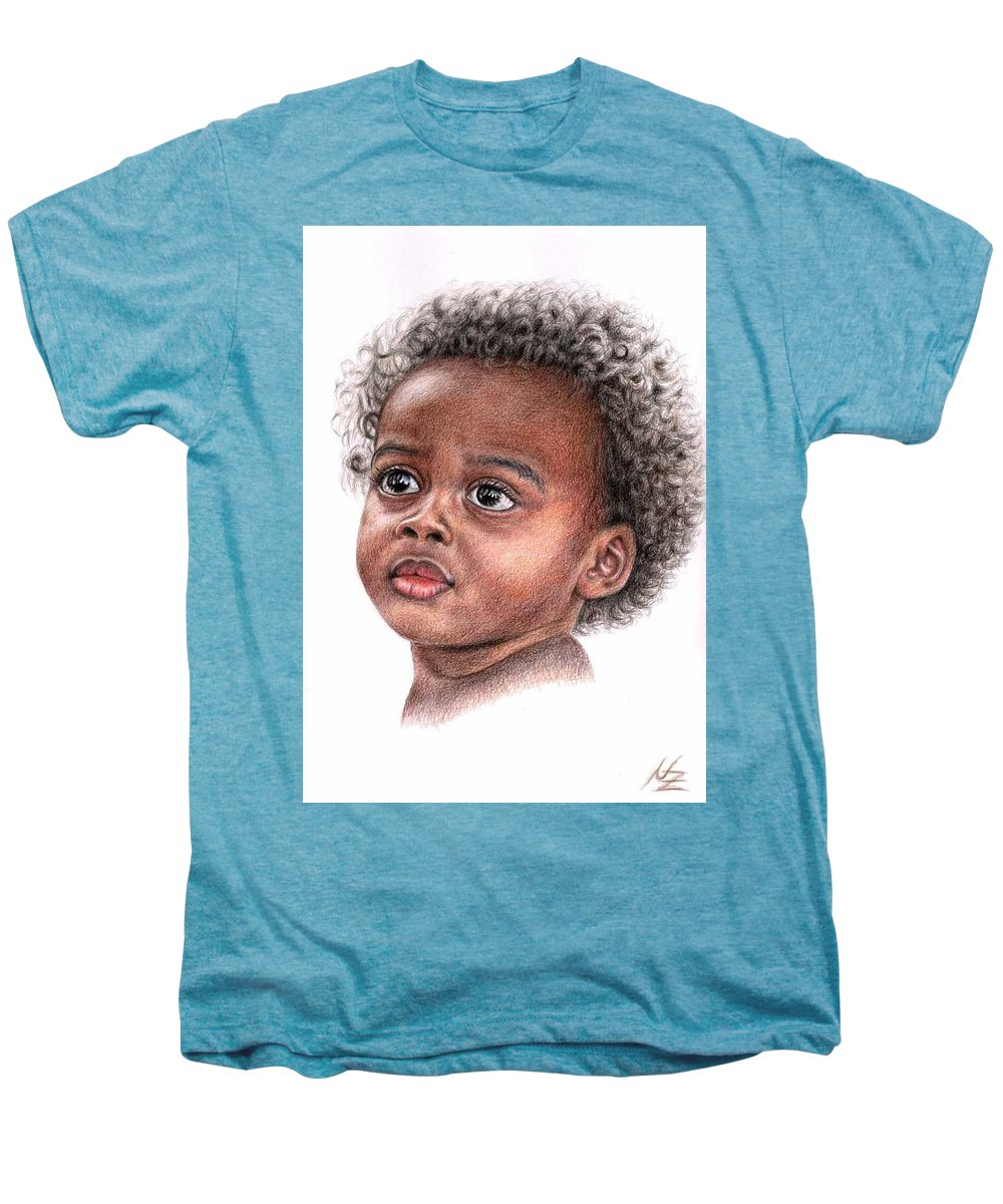 Child Men's Premium T-Shirt featuring the drawing African Child by Nicole Zeug