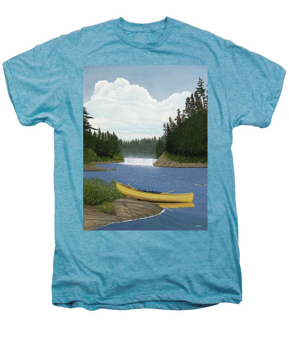 Landscapes Men's Premium T-Shirt featuring the painting After The Rapids by Kenneth M Kirsch