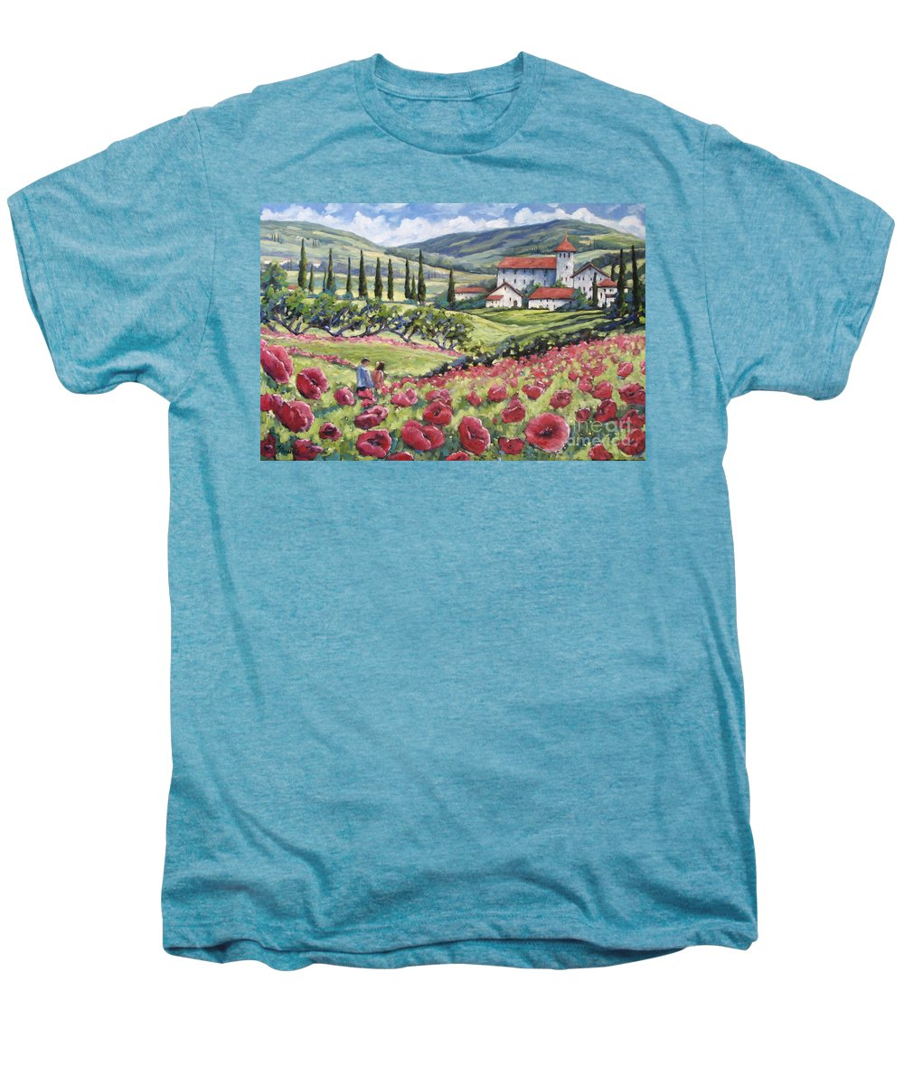 Tuscan Men's Premium T-Shirt featuring the painting Afternoon Stroll by Richard T Pranke