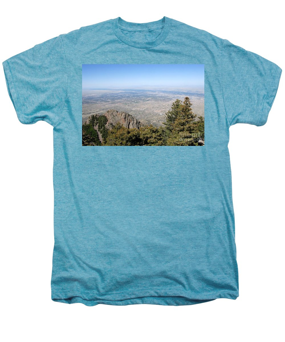 Albuquerque Men's Premium T-Shirt featuring the photograph Albuquerque And The Rio Grande by David Lee Thompson