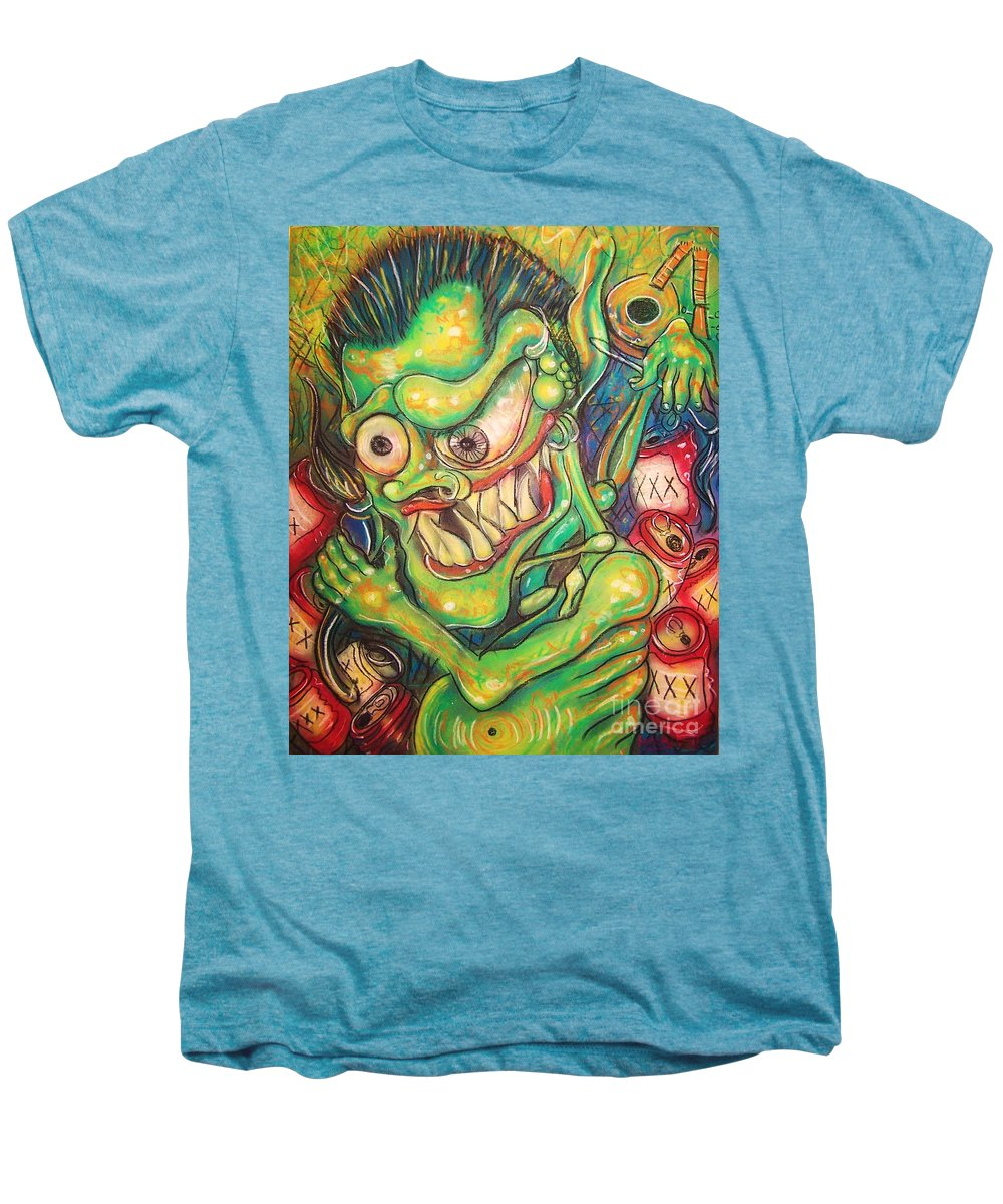 Beer Men's Premium T-Shirt featuring the painting Alcoholic Demon by Americo Salazar