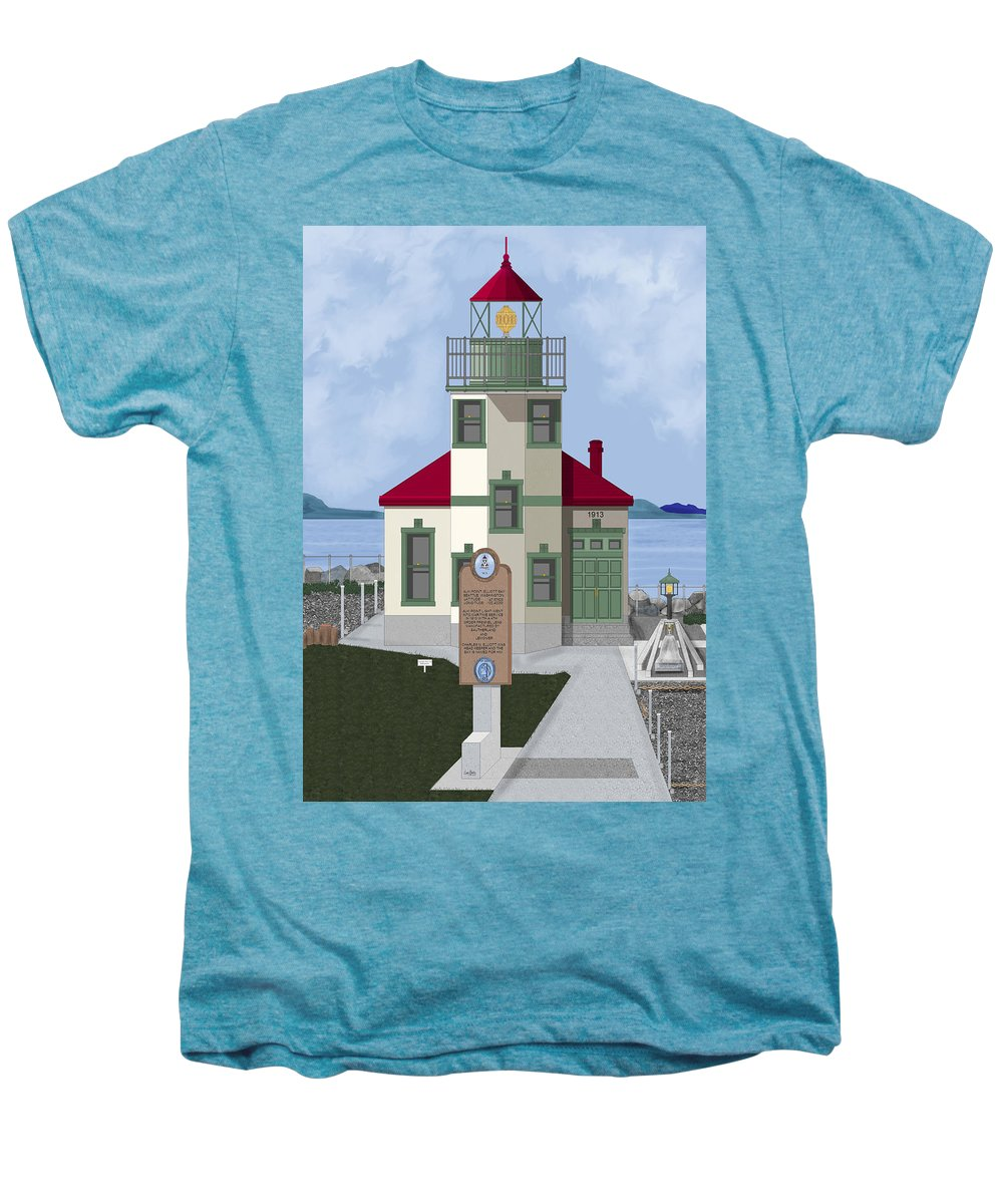 Lighthouse Men's Premium T-Shirt featuring the painting Alki Point On Elliott Bay by Anne Norskog