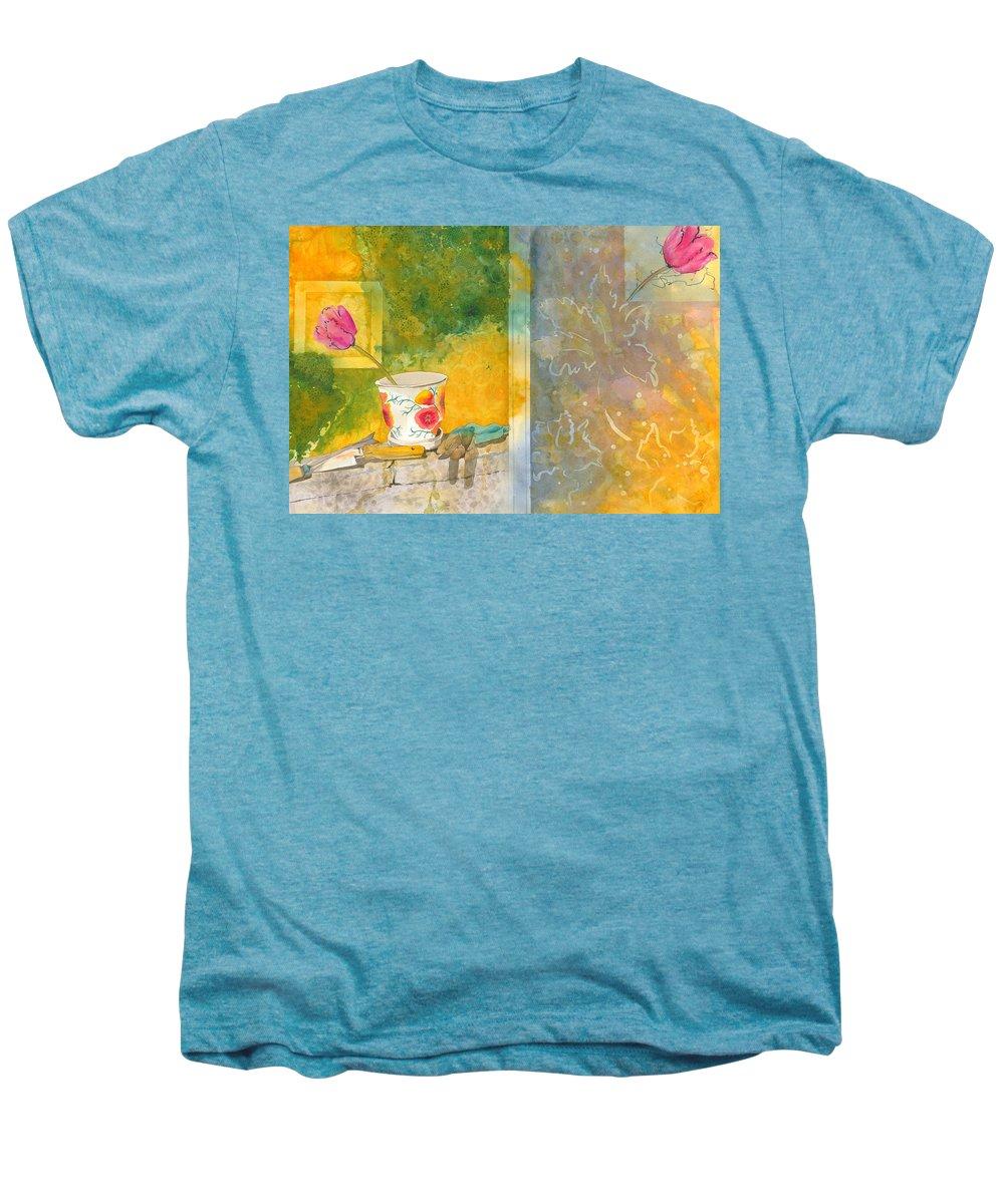 Garden Men's Premium T-Shirt featuring the painting Along The Garden Wall by Jean Blackmer